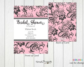 Bridal Shower Invitation, Damask Pink Black Shower Invite, Modern Shower Invitation, Baby Shower Invitation, Printed Invites, Birthday