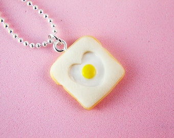 Food Jewelry - One-Eyed Sailor - Egg and Toast - Cute Necklace - Gifts - Polymer Clay