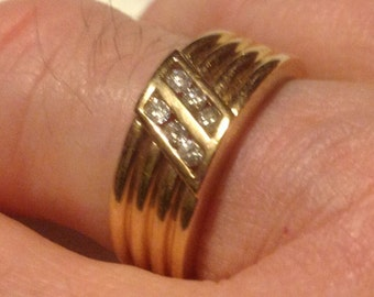 14K yellow gold mens channel set diamod ring        VJSE