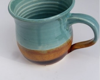 Pottery mug in blues and gold, tea, coffee,  handmade warm, cozy, under 20
