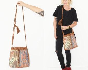 Vintage Kilim Bucket Bag , Leather Kilim Bag