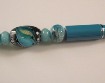 Encased Swirls Lampwork, Beaded, Ballpoint Pen, Artisan Crafted, One of a Kind, SRAJD, Hand Crafted Glass, OOAK, Turquoise Pen