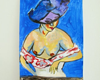 After Kirchner ~ Original Contemporary Acrylic Painting On Paper / Figurative / Woman / Wall Decor / NY Artist