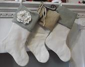 "Burlap stocking - Burlap and canvas - 17"" lined Christmas stocking - customize - personalized stocking - shabby chic - burlap cuff -"