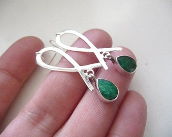 Emerald Earrings, Sterling emerald, raw emerald, raw emerald earrings, earrings, Silver emerald earrings, unique, one of a kind, emerald