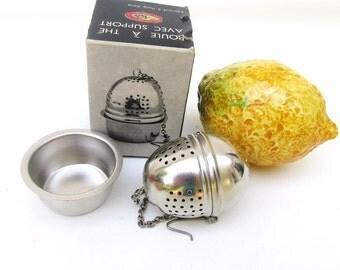 Vintage Tea Ball   Tea Strainer with Holder   Tea Maker   Aluminum Cup   Original Box