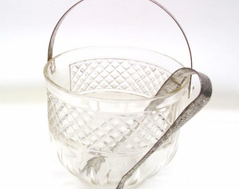 Mid Century Glass Ice Bucket, Hammered Aluminum Ice Tongs, Retro Barware