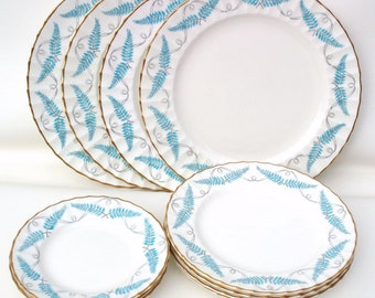 Vintage China Plates | Royal Worcester China | Dinnerware Set | Turquoise China | Ferncroft Porcelain Plates | Service for 4