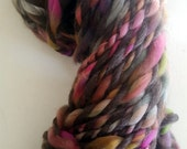Yarn Dark Grey Rainbow Handspun thick n thin Wool Alpaca soft knitting supplies Ribbon crochet supplies fiber arts