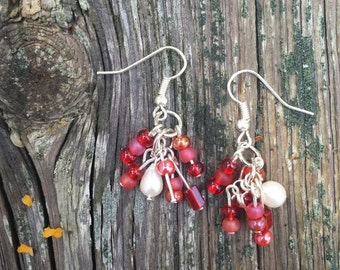 Deep Red with Freshwater Pearl Cluster Earrings- fantasy woodland berry cluster earrings in red, maroon, cherry, and frosted glass and pearl