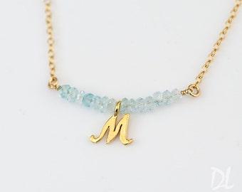 Aquamarine Necklace - Personalized Bar Necklace - Personalized Birthstone Necklace - Mothers Birthstone Jewelry - Layering Necklace