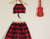 Black and  Red Tartan Twin Set Skirt and Halter Crop Summer Slumber Party Lolita Matching Set 60s 90s