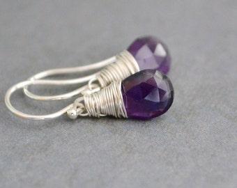 Purple Amethyst Earrings, Sterling Silver Hoops, February Birthstone, Gift for Her, Wedding Jewelry