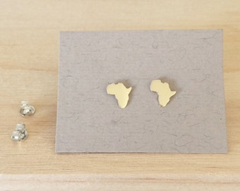 Gold Africa earrings Yellow Gold Africa Studs Map of Africa