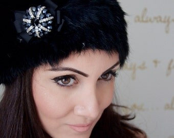 "Furry Black Winter Hat - ""Alice"" Dome Rabbit Fur Ski Bunny Winter Hat w/ navy beaded crystal brooch"