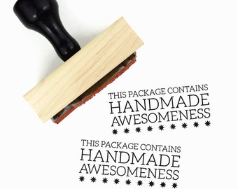This Package Contains Handmade Awesomeness Stamp - For the Maker DIY Packaging Stamp - Rubber Stamp by Creatiate
