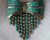 Art Deco Brooch, Turquoise Painted Bow with Dangling Beads