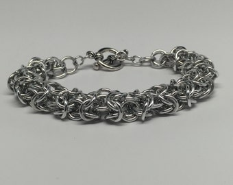 Turkish Round Chainmaille Silver Color Bracelet