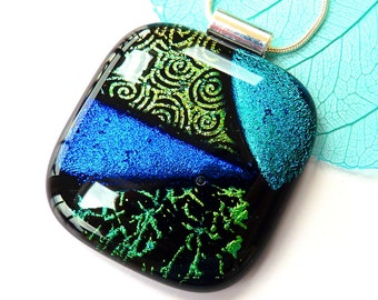 Dichroic glass pendant ~ Fused dichroic glass pendant necklace, Dichroic jewelry, Glass jewellery, Gift for her, Present Mum, Sister, Wife
