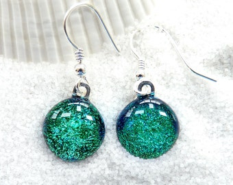 Dichroic glass earrings ~ fused glass drop earrings, matching earrings and pendant, green glass drops, glass jewelry gifts for her, women