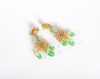 Vintage 1960s Green Chandelier Earrings - Chartreuse Aurora Borealis Crystal - Bridal Fashions