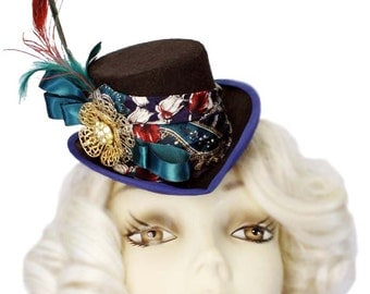 Mini Top Hat Fascinator Golden Fleur Blue Victorian Steampunk Tea Party Cosplay Teal