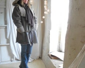 Shearling Sheepskin Jacket with Hood, Belt and Pockets - Available in Taupe, Grey and Khaki .  Made to Order