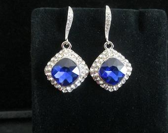 Vintage Style Sapphire Earrings,Something Blue Wedding Earrings, Bridal Earrings,Sapphire Earrings,Wedding Jewelry,Sapphire Wedding Jewelry