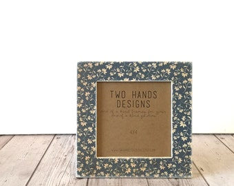 Antique Blue Flowers 4x4 Square Picture Frame