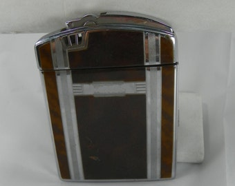 VINTAGE Ronson Cigarette Case and Lighter Twenty Case Mad Men Engravable Combo Mid-Century Mid Century MidCentury Twenty-Case Tortoise Deco