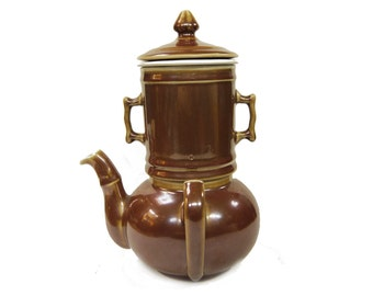 French Pillivuyt 4 Piece Brown Lustre Coffee/Tea Pot with Infuser c.1950s