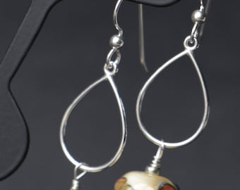 Ivory with Silver Glass Accent Flower Lampworking Sterling Silver Earrings