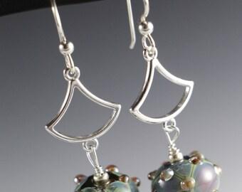 Earth Tone Nature Lampworking Sterling Silver Earrings