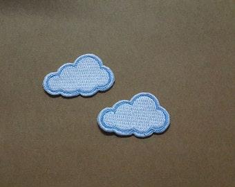 Set 2 pcs White Cloud Applique Embroidered Iron on Patch size 3.6 x 2.3 cm.