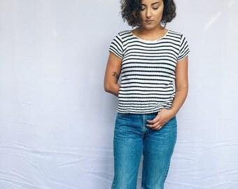 70s 80s Striped Knit Top Size XS S M