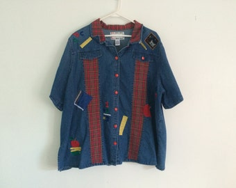 1990s ugly school teacher denim embroidered shirt / blouse / top / photo prop / first day of school / tacky / plus size