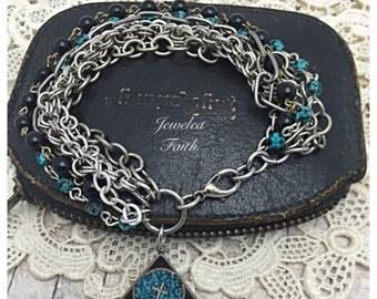 Cross Bracelet Religious Charm Bracelet Religious Bracelet  Mixed Chain Bracelet silver cross with turquoise