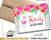 Flamingo Thank You Card Flamingo Note Card Printable Thank You Notecard