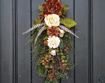 Spring Wreath-Summer Wreath-Fall Wreath Teardrop Door Twig Swag Vertical Decor.. Use all Year Round Wispy Brown- Cream Floral Swag