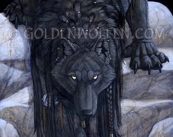 Black Wolf on Rocks At Night Print