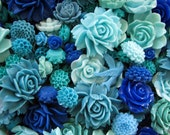 Resin Flower Cabochons : 15 Gorgeous Blue & Aqua Blooming Baubles -- (Sizes from 7mm to 40mm)