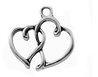 Silver Charms : 10 Antique Silver Interlocking Heart Charms | Silver Double Heart Pendants -- Lead, Nickel & Cadmium Free 138.J6D