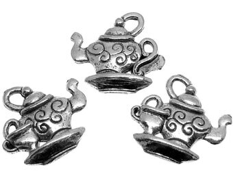 Silver Charms : 10 pieces Antique Silver Teapot Charms | Victorian Tea Pendants -- Lead & Nickel Free A100798S.J4F