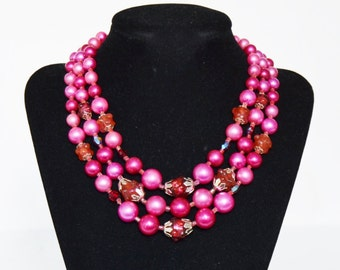 Vintage Triple-Stranded Necklace with Burgundy and Pink Plastic and Glass Beads