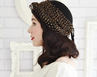 Vintage 1940s Dark Brown Hat with Glitter Netting and Two Hat Pins