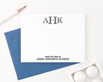 Monogram Stationery for men, Personalized Correspondence cards, From the desk of Stationary, Mens personalized Note Cards - ML005