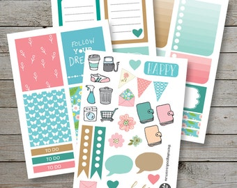 Printable Planner stickers / Erin Condren Filofax Happy Planner / Tan Mint Pink / checklist stickers / planner icons / November monthly kit