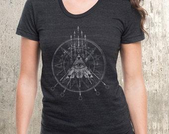 Arrows Compass Grunge Women's Tee - American Apparel Women's Tri-Blend T-Shirt