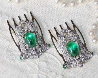 GENUINE Pair 1920s Emerald Green Paste Rhinestone Hair Combs,Paved Rhinestone,Upcycled Reclaimed Vintage Jewels,Emerald Green Bridal Combs