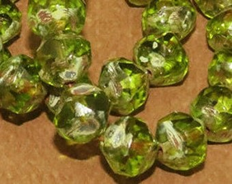 Olivene Green with Picasso Edges - Faceted - 8mm Czech Glass Central Cuts- 15 Beads
